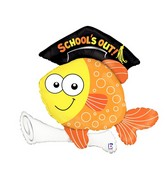 "35"" Foil Shape Balloon School&#39s Out Fish"