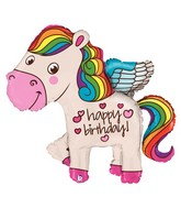"45"" Foil Shape Balloon Rainbow Birthday Pony"
