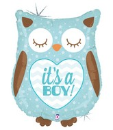 "26"" Holographic Shape Balloon It&#39s a Boy Baby Owl"