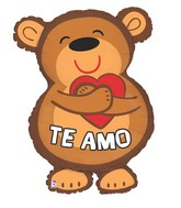 "28"" Foil Shape Balloon Packaged Te Amo Bear"