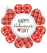 "43"" Holographic Shape Valentine Heart Flower Plaid"