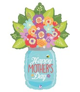 "40"" Foil Shape Balloon Mother's Day Wildflower Jar"