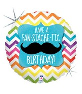 "18"" Holographic Balloon Packaged Fan-STACHE-tic Birthday"