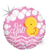 "18"" Holographic Balloon Bubble Ducky Girl"