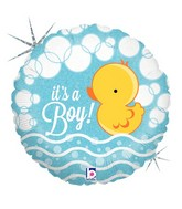 "18"" Holographic Balloon Bubble Ducky Boy"