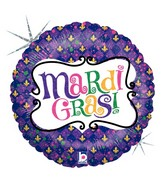 "18"" Holographic Balloon Mardi Gras Celebration"
