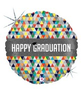 "18"" Holographic Balloon Happy Graduation Facets"