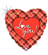 "18"" Holographic Balloon Love You Plaid"