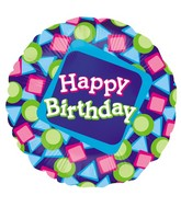 "18"" Single-Sided Balloon Rounded Squares Birthday"