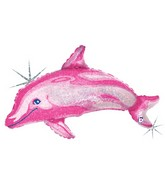 "36"" Holographic Pink Dolphin Shaped Balloon"