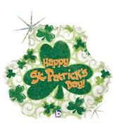 "18"" Holographic Shape Balloon St. Pat's Swirls"