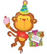 "49"" Foil Shape Packaged Birthday Monkey"
