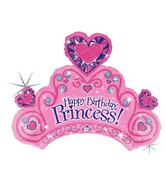"34"" Holographic Shape Balloon Happy Birthday Princess"