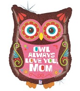 "26"" Holographic Shape Balloon Owl Always Love Mom"