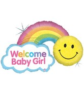 "45"" Holographic Shape Balloon Rainbow Baby Girl"