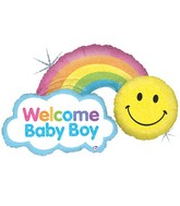 "45"" Holographic Shape Balloon Rainbow Baby Boy"