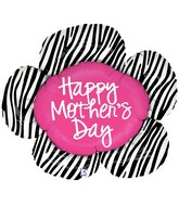 "38"" Foil Shape Balloon Mother&#39s Day Zebra Flower"