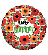 "18"" Happy Birthday Poppies"