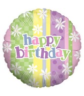 "18"" Balloon Packaged Pastel Stripes Birthday"