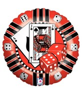 "18"" Casino Chip Mylar Shape Balloon"
