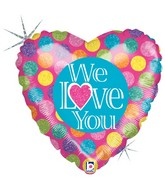 "18"" Holographic Balloon Packaged We Love You"