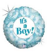 "18"" Holographic Balloon Packaged It&#39s A Boy Footprints"