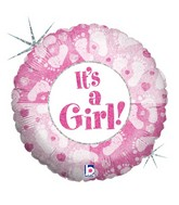 "18"" Holographic Balloon Packaged It&#39s A Girl Footprints"