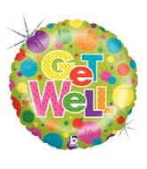 "18"" Holographic Balloon Packaged Lots A Dots Get Well"