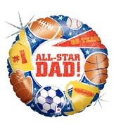 "18"" Holographic Balloon All Star Dad"