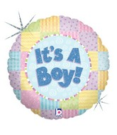 "18"" Holographic Balloon Patchwork Baby Boy"