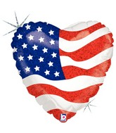 "18"" Holographic Balloon Packaged Heart of a Patriot"