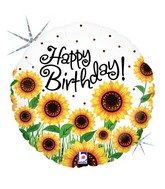 "18"" Holographic Balloon Sunny Sunflowers Birthday"