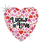 "18"" Holographic Balloon Lucky in Love"