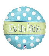 "18"" Holographic Balloon Packaged Es un Ni�o - Polka"