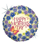 "18"" Holographic Balloon Mother&#39s Day Violets"