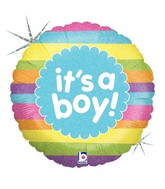 "18"" Holographic Balloon It's A Boy Rainbow Stripes"