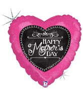 "18"" Holographic Balloon Chalkboard Script Mother&#39s Day"