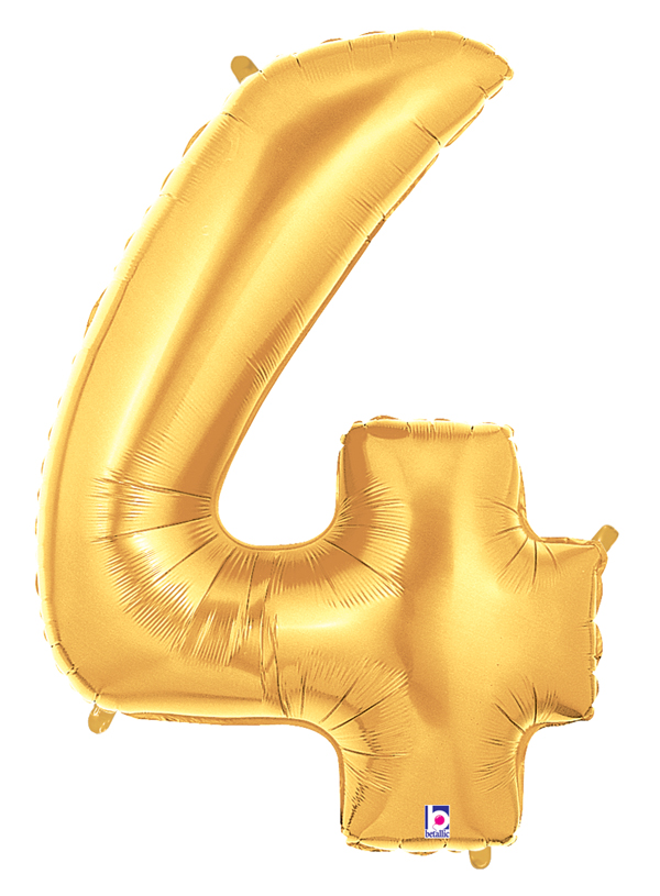 "40"" Large Number Balloon 4 Gold"