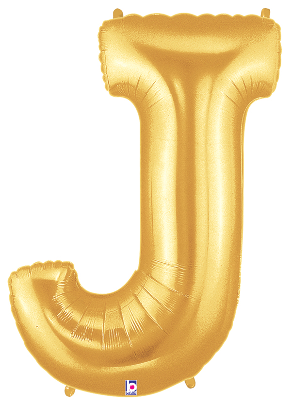"40"" Large Letter Balloon J Gold"
