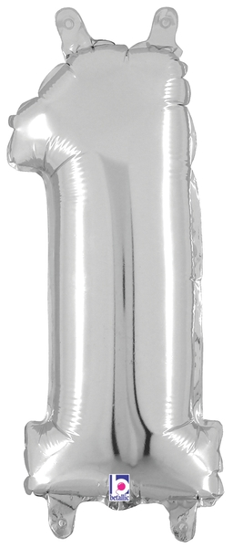 "7"" Airfill (requires heat sealing) Number Balloon 1 Silver"