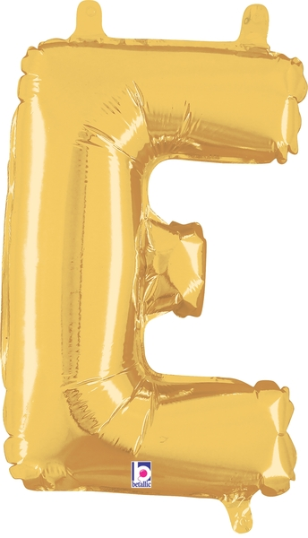 "14"" Valved Air-Filled Shape E Gold Balloon"