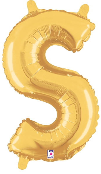 "7"" Airfill (requires heat sealing) Letter Balloons S Gold"