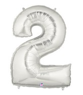 "40"" Large Number Balloon 2 Silver"
