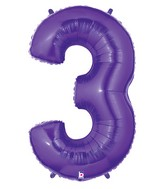 "40"" Large Number Balloon 3 Purple"