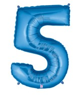 "40"" Large Number Balloon 5 Blue"
