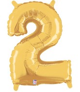 "14"" Valved Air-Filled Shape 2 Gold Balloon"