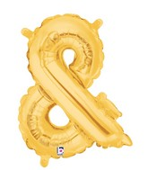 "14"" Valved Air-Filled Shape Ampersand Gold Balloon"