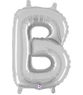 "14"" Valved Air-Filled Shape B Silver Balloon"