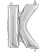 "14"" Valved Air-Filled Shape K Silver Balloon"