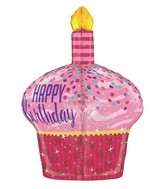 "35"" Multi-Sided Birthday Sparkles Cupcake Balloon"
